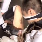 【ゲイ動画 xtube】高校球児を亀甲縛り!臭い靴下を無理やり嗅がせ、スパイクで足コキする鬼畜のSM調教!